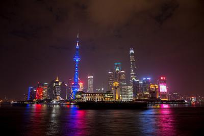 浦东,上海,夜晚,现代,城市天际线,居住区,黄浦江,东方明珠塔,外滩,观测点