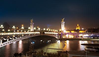 亚历山大三世桥,巴黎,新艺术主义,塞纳河,纪念碑,水平画幅,无人,户外,城市,都市风景