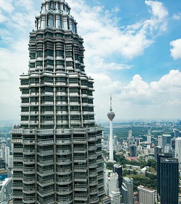 吉隆坡,市区,吉隆坡塔,双峰塔,垂直画幅,天空,高视角,无人,户外,马来西亚