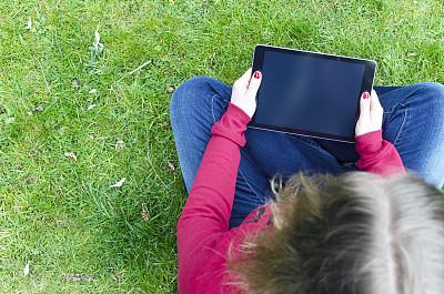 留白,显示器,看,空白的,药丸,设备屏幕,触控板,高视角,草,仅成年人