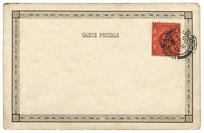 20世纪风格,古董,古典式,明信片,空白的,邮戳,取消,殖民地式,橡皮章,贺卡