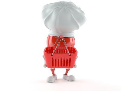 辣椒粉,纽卡素,厨师帽,购物篮,水平画幅,食品杂货,绘画插图,性格,商店,计算机制图