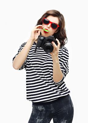 相机,乐趣,女孩,棒棒糖,平衡折角灯,垂直画幅,美,青少年,青春期,进行中