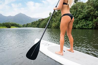 桨叶式冲浪板,青年女人,冲浪板,哈纳雷,木槿属,考艾岛,水,休闲活动,水平画幅,枝繁叶茂