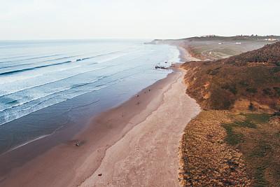 海滩,航拍视角,水,水平画幅,纹理效果,沙子,无人,夏天,户外,无人机