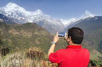 山,风景,博卡拉,安娜普娜山脉群峰,雪山,美,休闲活动,水平画幅,雪,喜马拉雅山脉