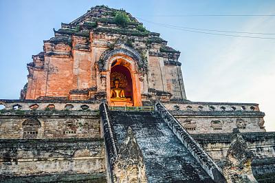 柴迪隆寺,清迈省,泰国,清迈城,卧佛寺,水平画幅,建筑,无人,古老的,僧院