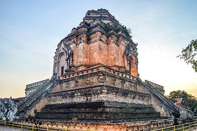 柴迪隆寺,清迈省,泰国,清迈城,卧佛寺,灵性,水平画幅,无人,古老的,僧院