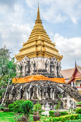 清迈省,泰国,寺庙,柴迪隆寺,清迈城,卧佛寺,垂直画幅,灵性,无人