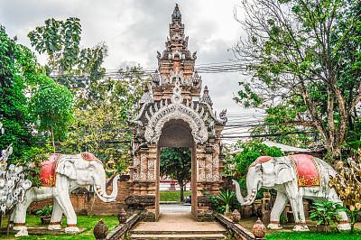 清迈省,泰国,寺庙,柴迪隆寺,清迈城,卧佛寺,水平画幅,无人,古老的