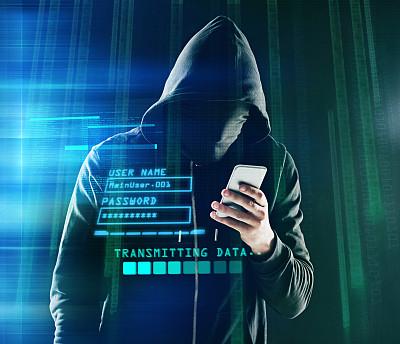 黑客,小的,平衡,巴拉克拉法帽,遮住脸,不诚实,程序员,留白,夜晚,智慧
