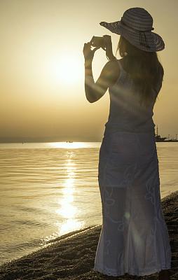 海滩,女人,帽子,垂直画幅,天空,青少年,早晨,旅行者,夏天,希腊