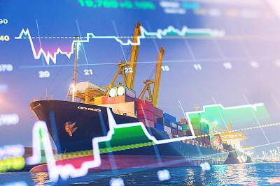 起重机,货物集装箱,金融,市场,背景,线图,夜市,水平画幅,夜晚,货运