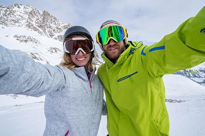 滑雪坡,自拍,瑞士,青年伴侣,羚牛,圣莫瑞兹,格劳宝登州,滑雪镜,滑雪运动,天空