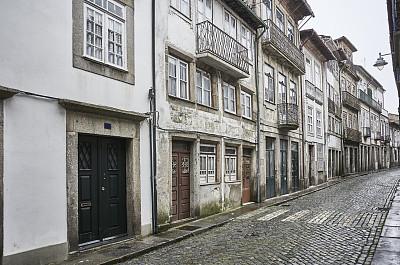 古典式,葡萄牙,街道,布拉加,布拉加区,圆石,行人,拆毁的,水平画幅,墙
