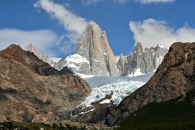 费兹罗山,查敦,阿根廷,水平画幅,冰河,无人,户外,冰,自然美,山脉