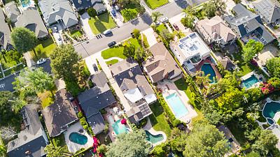 航拍视角,住房,贷款,郊区,居住区,水,水平画幅,无人,游泳池