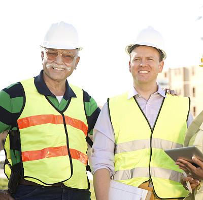 建筑业,工程师,建筑工地,建筑师,混血儿,团队,房地产开发商,反光服,混合年龄,质检人员