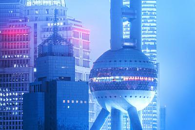 东方明珠塔,浦东,上海,金茂大厦,上海环球金融中心,黄浦区,荧光灯,观测点,霓虹色,黄昏