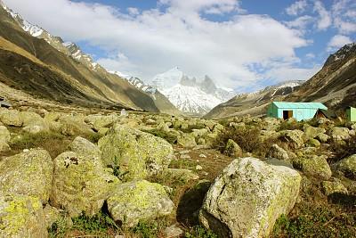 喜马拉雅山脉,地形,背景,gangotri glacier,安娜普娜山脉群峰,天空,水平画幅,山,雪,无人