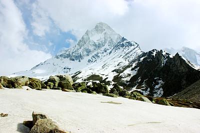 喜马拉雅山脉,山顶,gangotri glacier,安娜普娜山脉群峰,湿婆,雪山,美,水平画幅,山,雪