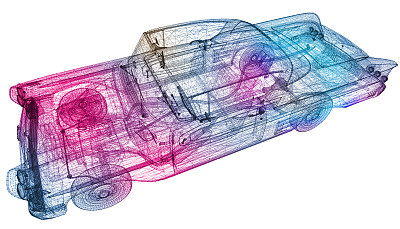 流线型,汽车,经典,定制车,热成像,汽车产业,过去,美,风,车轮