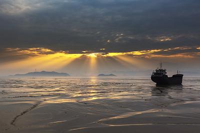 海景,浙江省,中国,海湾,壕沟,水平线,泥,水湾,戏剧性的天空,海岸线