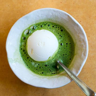 冰淇淋,绿茶,冰,一把,香草冰淇淋,冻结的,在上面,球,背景分离,香草兰