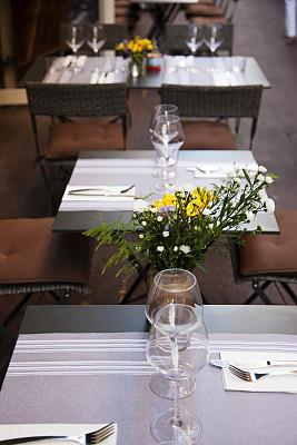 户外,尼斯,法国,咖啡馆,桌子,餐巾,午休时间,桌布,饮食产业,垂直画幅