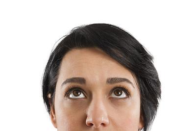 女商人,扬起眉毛,不确定,逆境,30岁到34岁,仅成年人,想法,青年人,人的头部,公司企业