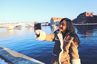 旅行者,日本人,女人,幸福,自拍,哥本哈根,哥本哈根新港,老港,交换生,美术肖像