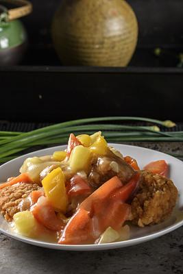 咕噜肉,咕噜菜,灯笼椒,中国食品,垂直画幅,饮食,美国,胡萝卜,酸味,排骨