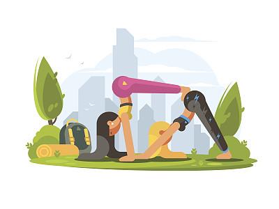 公园,女孩,瑜伽,体操,美,禅宗,休闲活动,水平画幅,绘画插图,夏天