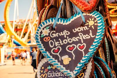 慕尼黑,啤酒节,动物心脏,货摊,姜饼蛋糕,甜心,旅游嘉年华,游乐园,上巴伐利亚,我爱你