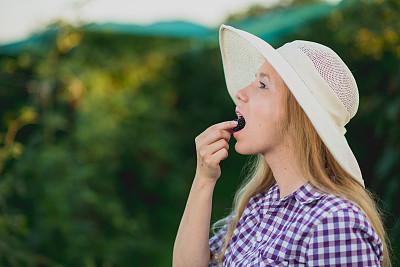 女人,黑刺莓,桑椹,社区菜园,吊带,素食,提举,夏天,仅成年人,长发