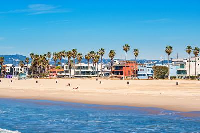 威尼斯海滩,洛杉矶,加利福尼亚,美国,威尼斯-加利福尼亚,晴朗,水,天空,成一排,水平画幅