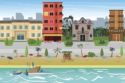酒店,度假胜地,海滩,城镇,街道,小旅馆,汽车旅馆,宾客,码头,伞