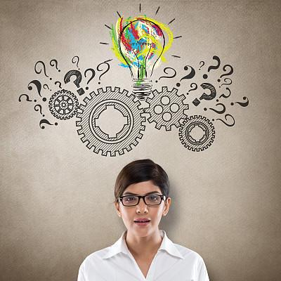 想法,概念,新创企业,问号,印度人,绘画插图,经理,仅成年人,眼镜,齿轮