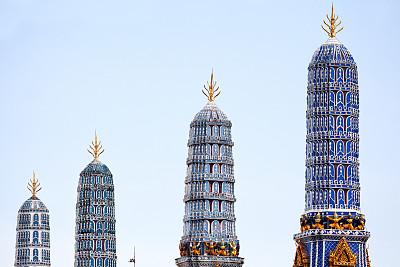 成一排,蓝色,宝塔,玉佛寺,天空,瓦,水平画幅,建筑,无人,户外