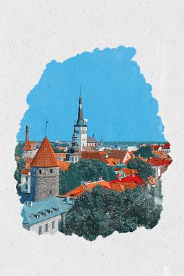 草图,爱沙尼亚,塔林,垂直画幅,艺术,档案,绘画插图,白色背景,城市