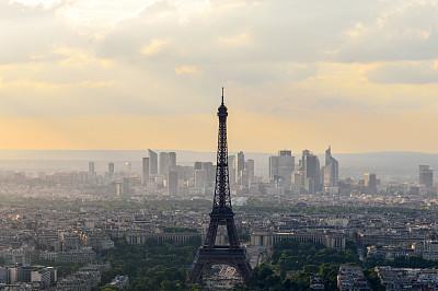 埃菲尔铁塔,巴黎,航拍视角,蒙特帕斯大厦,蒙特帕斯,拉德芳斯,战神玛尔斯公园,纪念碑,天空,留白