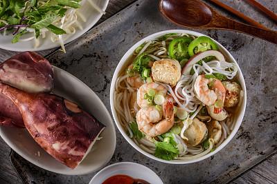 汤碗,海产,越南,米粉,越南粉,街头食品,豆芽,面汤,辣酱,明虾