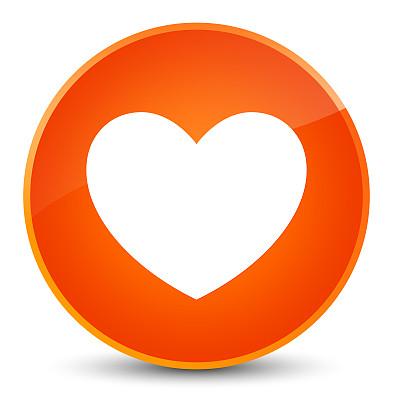 橙色,圆形,按钮,心型,图标,高雅,垂直画幅,美国,形状,绘画插图