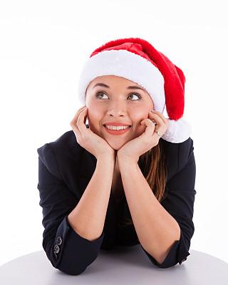 绿色眼睛,手托下巴,俄罗斯人,白日梦,垂直画幅,圣诞帽,套装,白人,不看镜头