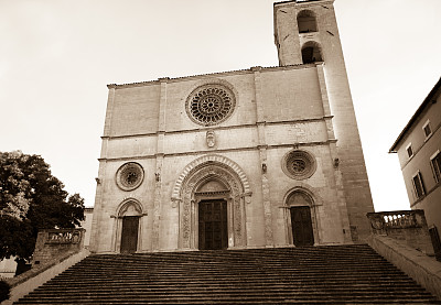 托迪,翁布里亚大区,棕褐色调,哥特式风格,意大利,大约14世纪,圆花窗,楼梯,美