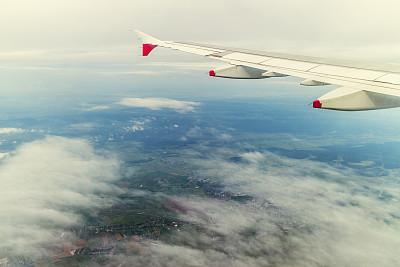 罗马尼亚,在上面,机翼,水平画幅,高视角,彩色图片,云,旅途,陆地,图像