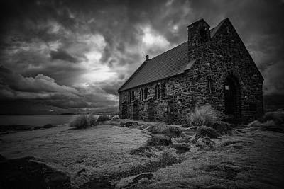 帝卡波湖,黑白图片,麦肯齐地区,特卡波,潘帕斯大草原,新西兰坎特伯雷地区,南阿尔卑斯山脉,留白