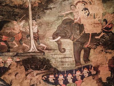 帕辛寺,壁画,清迈省,泰国,远古的,寺庙,清迈城,象,古董