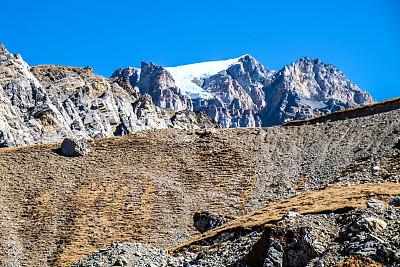 喜马拉雅山脉,尼泊尔,山顶,安纳普纳生态保护区,安娜普娜山脉群峰,水平画幅,雪,无人,岩层,户外