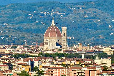 佛罗伦萨,意大利,长焦镜头,钟楼,拍摄场景,水平画幅,注视镜头,城市天际线